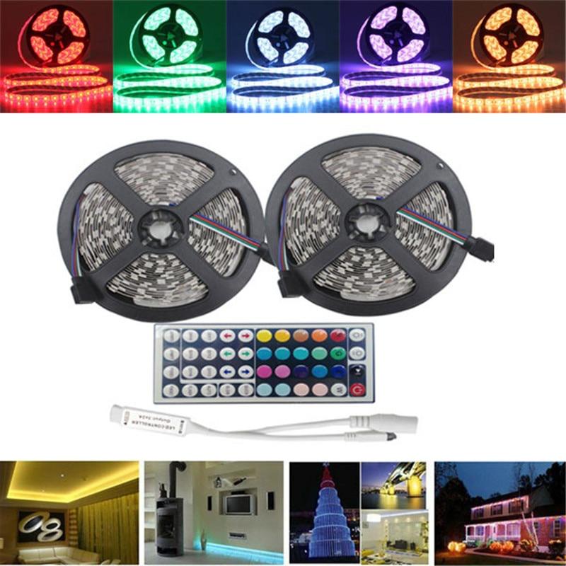 Smuxi 10M SMD5050 Waterproof RGB 600 LED Strip Flexible Rope Tape Light Kit + 44 Keys IR Controller DC12V