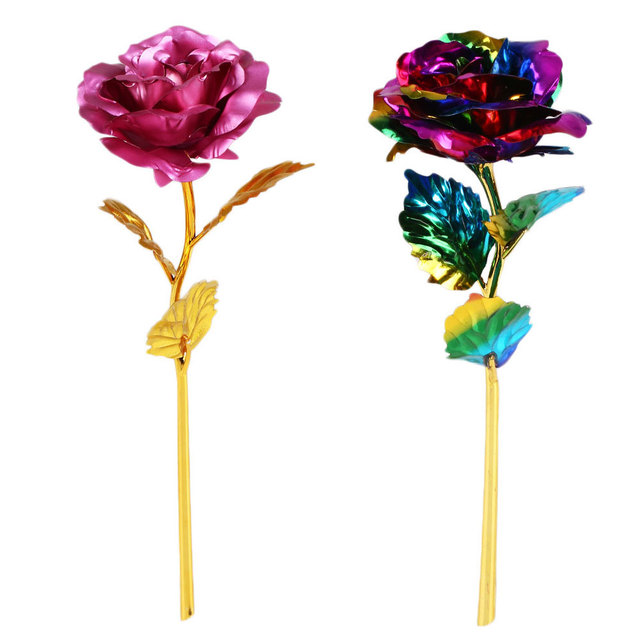 24K Gold Plated Golden Rose Flower For Valentines Day Lovers Gift Romantic