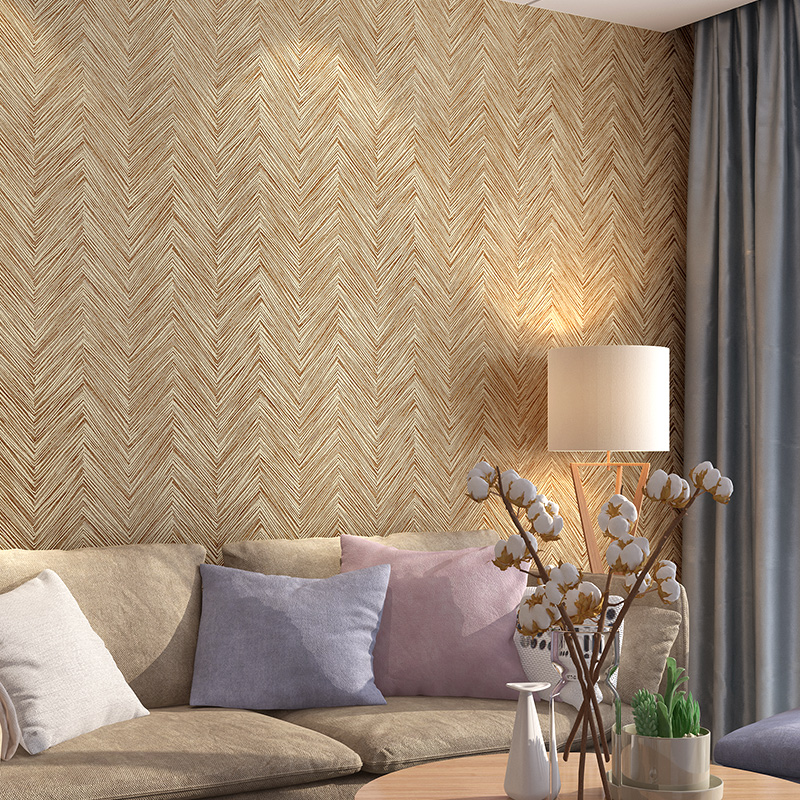 Chinese Vintage Beige Imitation Bamboo Wall Paper Modern Simple Stripes Hotel Corridor papel de parede Relief Straw wallpapers