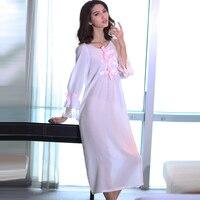 Longue Z Długim Rękawem Biały Długa Koszula Nocna Księżniczka Koszula Nocna Nuisette Mankiety Koronki Koszula Nocna Sexy Sheer Śpiąca Sukienka W Ciąży
