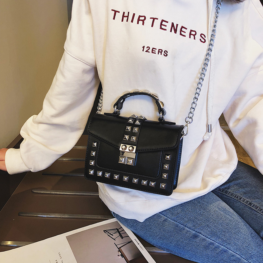 2019  Fashion Women Cover Rivet Crossbody Bag Girls Chain Leather Colorful Messenger Shoulder Bag Ladies PU Leather Bags