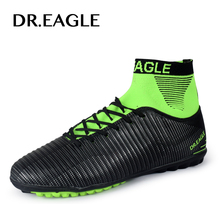 DR.EAGLE Turf/TF High ankle soccer cleats soccer shoes futsal Sock with football shoes indoor FOOTBALL BOOTS Footballs Sneakers цена в Москве и Питере