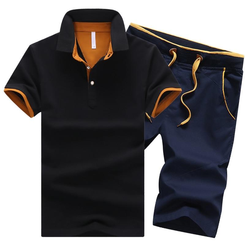 Cotton Mens Sets Summer Button Polo Shirts Sets Turn Down Mens Shorts 4XL Men Clothes 2 Piece Set Tracksuit Elastic Waist Shorts