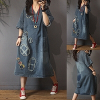 Spring Summer Women Casual All match Ultra Loose Plus Size Vintage Patchwork Denim Dresses