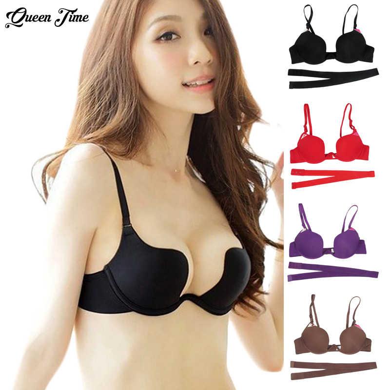 efaf5f558 New Hot Sexy Bra Push Up U Plunge Bra Of Underwear Women D Cup Seamless Half