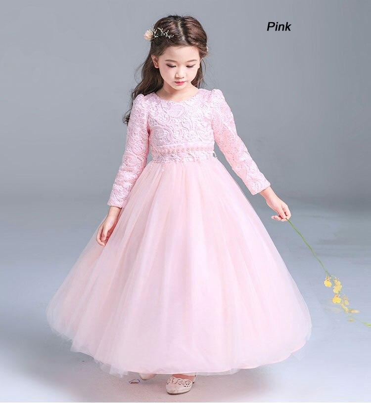 2018 nouveau printemps automne mode filles robe à manches longues brodé dentelle robe de bal taille perle princesse robe enfants robe de mariée - 3