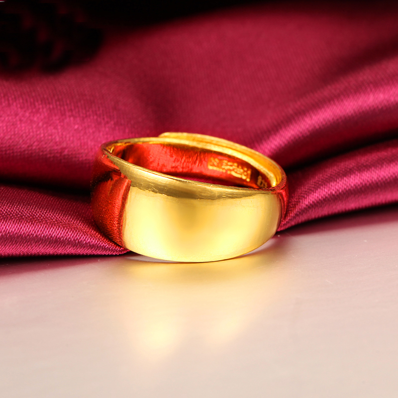 Solid 24K Yellow Gold Ring Lovers Ring 999 Gold Smooth Wedding Ring Band 999 solid 24k yellow gold ring bless men