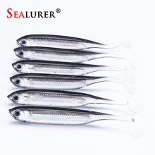 SEALURER Brand Jig Head Soft Lure 2.2g 7.5cm Fishing Shad Worm Bait Soft Lure Fly Fishing Bait Fishing Lures 6pcs/lot