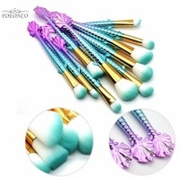 10Pcs Unicorn Mermaid Shape Makeup Brushes Set Beauty Cosmetic Eyeshadow Foundation Powder Face Kabuki Make Up
