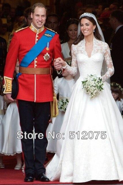 Princess Kate Middleton Wedding Dresses Wholesale Luxuriant Court Train Lace Up Wedding Dress Europe Style Custom Made