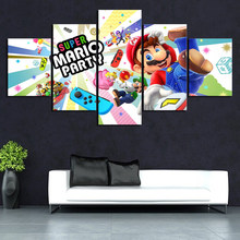 5 Pieces Pictures Casual Games SUPER MARIO PARTY Canvas Printed Wall Pictures Home Decor For Living Room Poster Canvas Wholesale(China)