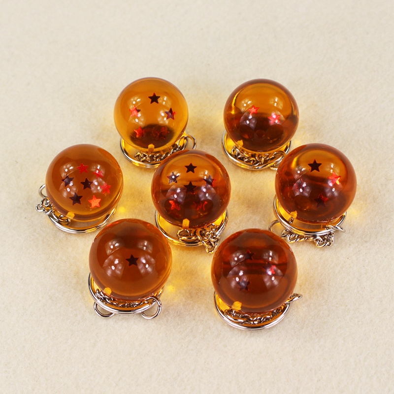 7pcs/lot 2.5cm Anime Dragon Ball Z Crystal Balls With Stars PVC Action Figure Keychain Pandent Toys 7pcs set anime dragon ball z 7 stars balls 2 7cm pvc figures toys keychain pendant star dragon keyring cartoon fans collection