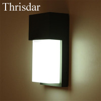Thrisdar 10W Outdoor Balcony Stairs Fence Corridor Villa Porch Light Surface Mounted Waterproof Led Wall Sconce Lamps