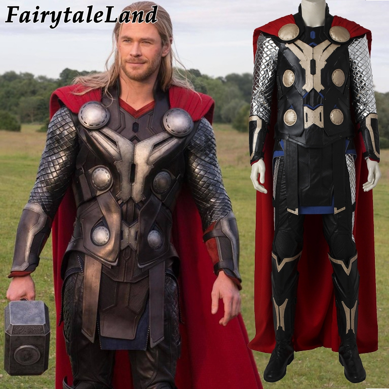 ab12a7d4d5 Vingadores Thor Age of Ultron traje cosplay trajes de Halloween para homens  adultos botas de cosplay de Super-heróis traje Thor martelo terno