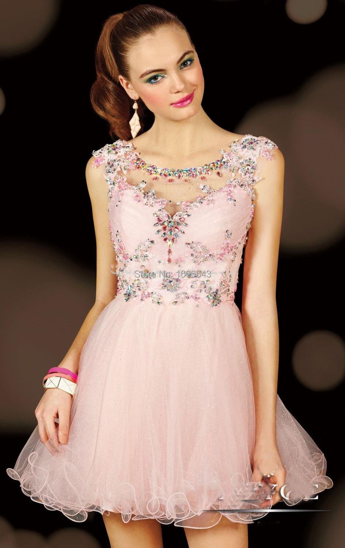 Impresionantes lindos corto Puffy vestido de fiesta Light Pink ...