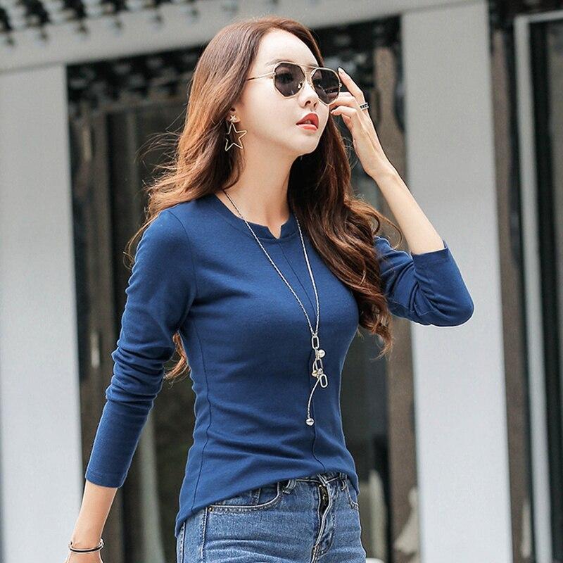 66cfa77c3a Nuevas 2017 Camisetas para las mujeres Camiseta de algodón de manga larga  señoras invierno Top Solid Poleras Mujer camiseta femenina Camisetas