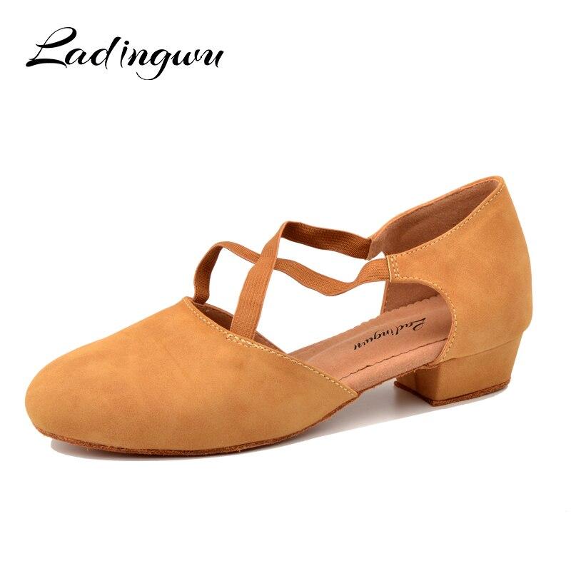 Ladingwu Low-heeled Dance Shoes Women's Latin Dance Shoes Soft Bottom Ballroom Dancing Shoes Woman Training Shoes Girls Heel 3cm
