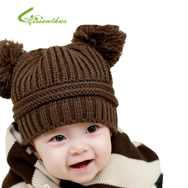 5 Colors Gift Panda Shaped Lovely Boy Girl Hats Winter Baby Knitted Caps Children Keep Warm Hat Free Shipping 10pcs Wholesale