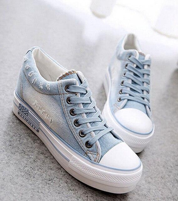 Женская Обувь зашнуровать случайные холст обувь высота увеличение платформа узелок женщины джинсовые туфли 4d14