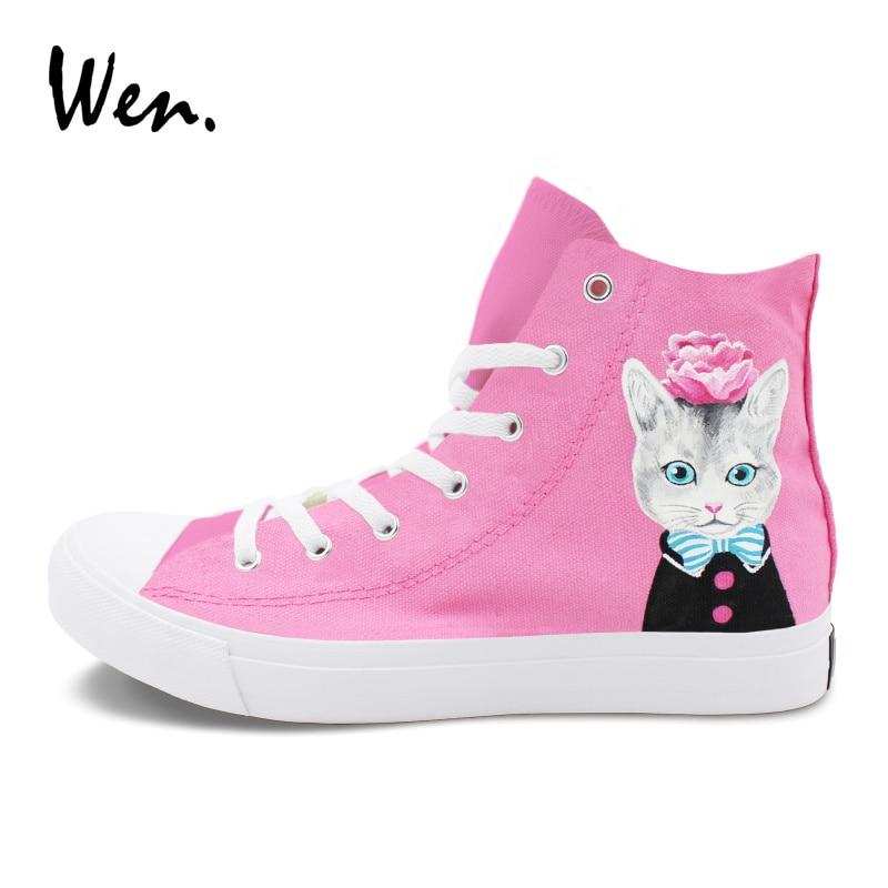 Wen Pink Color Painting High Top Sneakers Original Design Pet Cat Flower Hand Painted Canvas Shoes Men Women Lace Up Flat