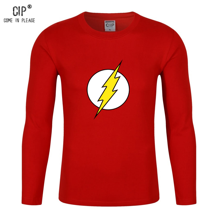 CIP 100% Cotton The Flash Autumn Tshirt With Long Sleeves Printed T Shirt Men Casual Brand Clothing The Big Bang Theory Male Top ...