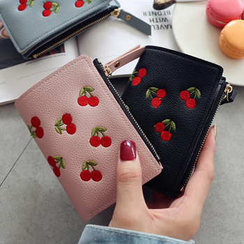 Fashion Women Girls Short Wallet Small PU Leather Cherry Embroidery Coin Purse Card Holders Lady Girl Mini Money Bag embroidery star women wallet two fold small pu leather fashion mini female coin purse card holder money bags carteira feminina