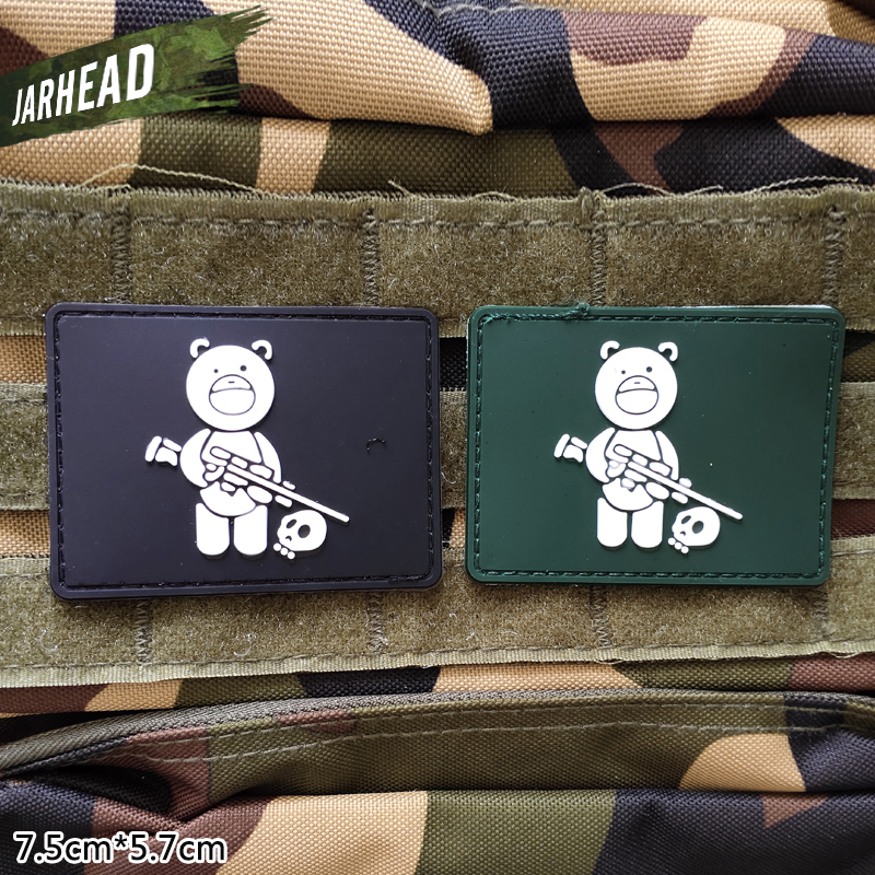 Tactical Bear Military PVC Patch Velcro Rubber Armband Tactical Badge Personality For Backpack Hat Clothes