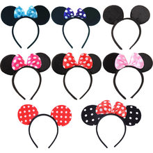 Leuke Mickey Minnie Shiny Haarband Rode Muis Oren Hoofdbanden Voor Vrouwen Hair Bows Accessoires Birthday Party Celebration Hot(China)