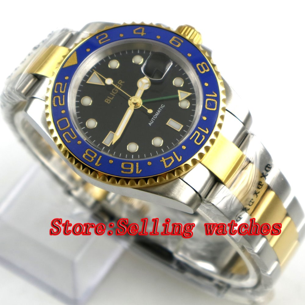 40mm Bliger black Dial ceramic bezel green GMT Luminous Hands Sapphire Glass Automatic Movement Men