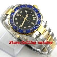 40mm Bliger black Dial ceramic bezel green GMT Luminous Hands Sapphire Glass Automatic Movement Men's Mechanical Wristwatches