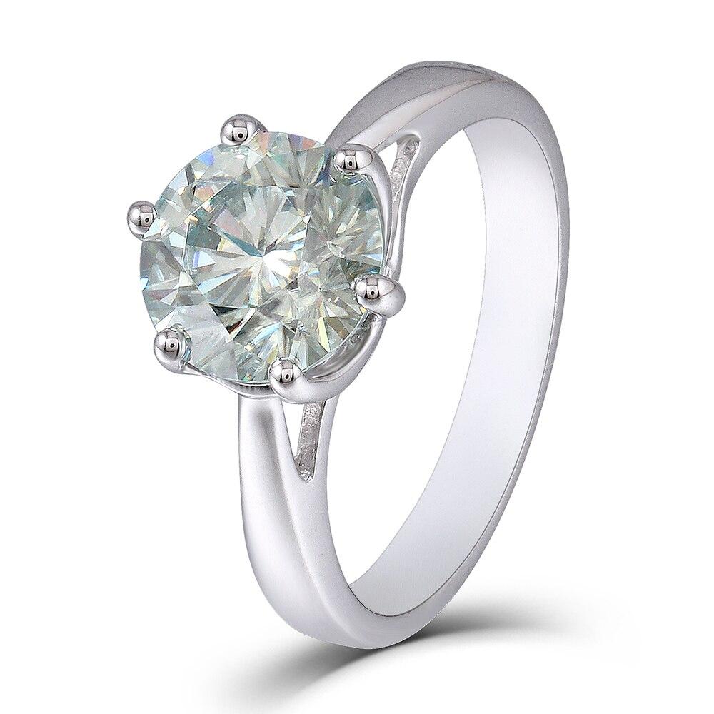TransGems 2ct 8 мм Круглый Блеск Лаборатория Grown Муассанит алмаз Обручение кольцо обручальное кольцо платиновым покрытием серебра для Для женщин ...
