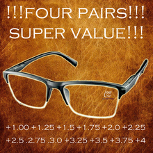 ФОТО !!! 4 paris !!! high quality half-rim black anti-fatigue reading glasses +0.25 +0.75 +1.25 +1.75 +2.25 +2.75 +3.25