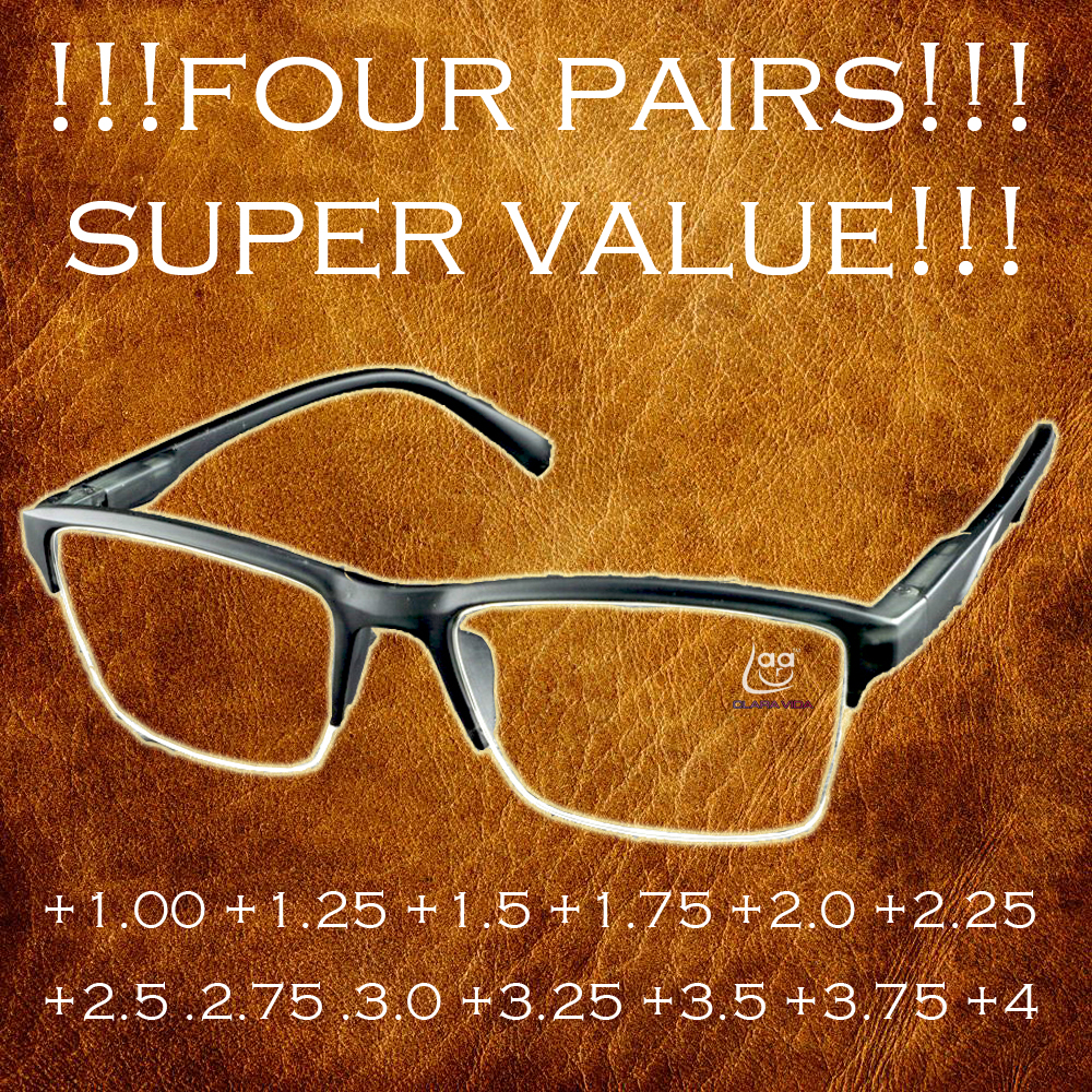 ! 4 Parijs! Hoge Kwaliteit Half-velg Zwart Anti-vermoeidheid Leesbril + 0.25 + 0.75 + 1.25 + 1.75 + 2.25 + 2.75 + 3.25