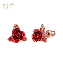 U7 Rose Flower Stud Earrings For Women Ladies Brincos Gift Rose Gold Color Simple Cute Earrings Party Wedding Jewelry E1015 pair of stunning rose wedding earrings jewelry for women