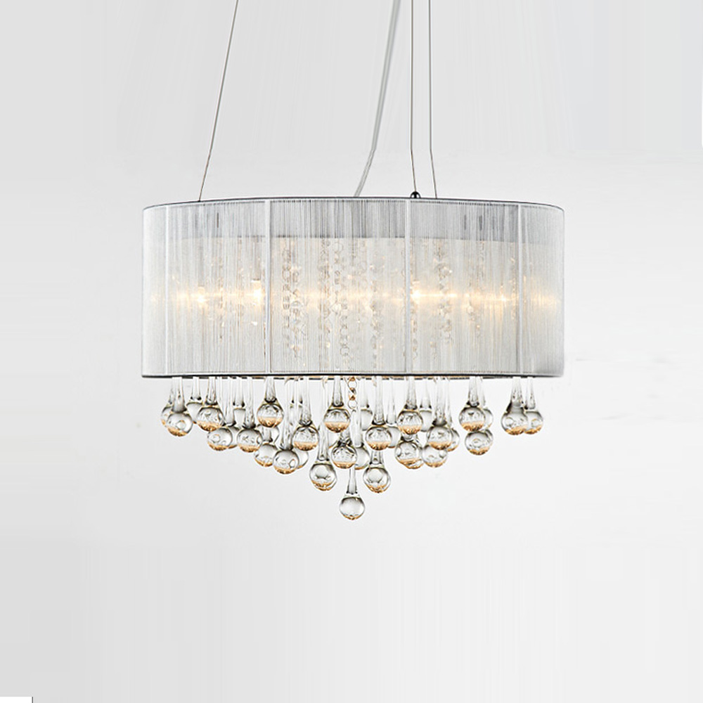 New Modern Crystal Decorated Pendant light Drawbench Lampshade Living Room Pedant Light Free Shipping Style Bedroom Pendant lamp new arrival modern chinese style bamboo wool lamps rustic bamboo pendant light 3015 free shipping