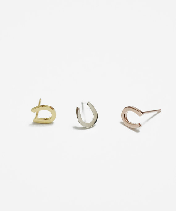 10pair Fashion Lucky Horseshoe Stud Earrings Horse Shoe Hoof Cute Letter Alphabet Initial U In From Jewelry