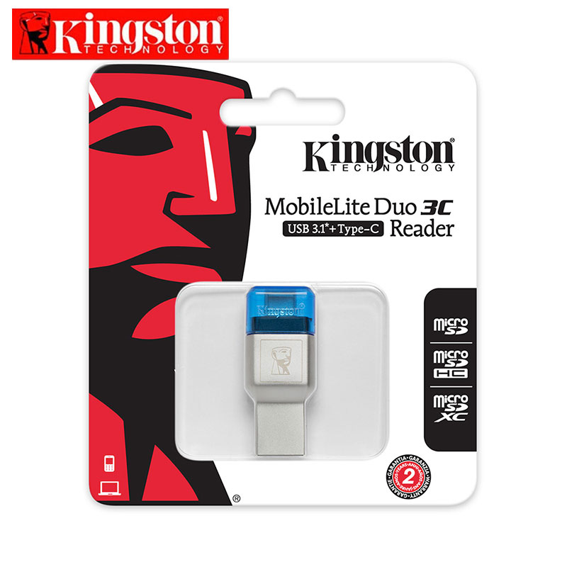 Original Kingston Micro SD Card Reader USB 3.1 Type-A and Type-C Dual Interface USB Card Reader USB 3.0 Memory Stick Card Reader new portable mini design charming 3 in 1 card reader usb type c micro usb 3 0 tf sd card reader support type c otg card reader