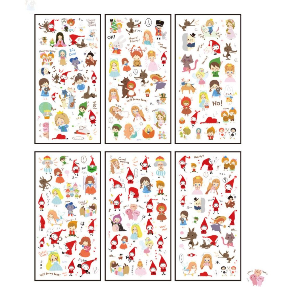 6 Pcs/pack Fable Town Decorative Stationery Stickers Scrapbooking DIY Diary Album Stick Lable