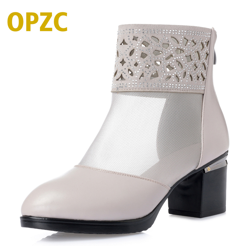 OPZC Summer fashion Genuine leather woman shoes ankle crystal decoration transparent mesh sexy solid boots pointed toe basic