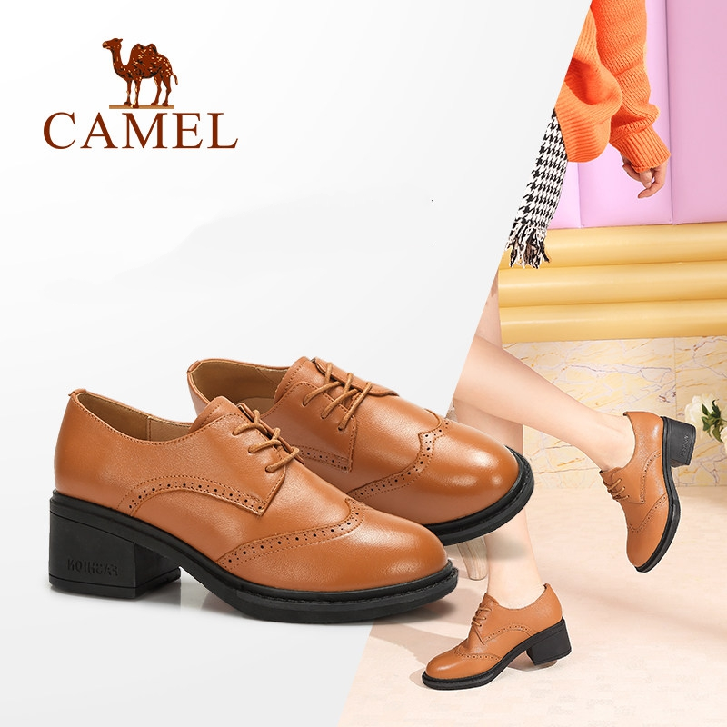 CAMEL New Arrival 2018 British Retro Leather Shoes Women Pumps Heels Woman Spring Hot Casual Round Head Lace Shoes Antiskid Sole 2016 spring summer new old leather lace round japanese casual shoes retro fashion leather shoes