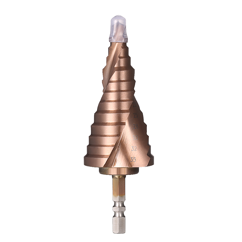 HSS 6-35mm Titanium Coated Spiral Groove M35 Step Drill Bit With Cobalt 13 Steps 6.35mm Hex Shank Pagoda Drill Bit fixmee hss step drill bits 4mm 32mm spiral groove power tools 1 4 hex shank wholesale price 15 steps metal drilling titanium