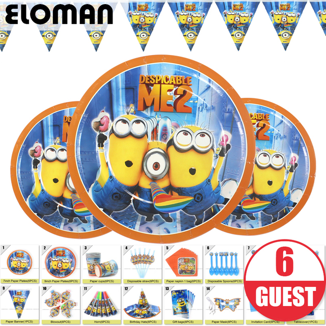 Minions Theme Birthday Party Sets Set For Baby Kids Decorations 6 Guest