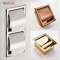 Recessed Toilet Paper Gold sus 304 Stainless Steel Toilet Paper Holder Wall WC Roll Holders Tissue Box Cover Toilet Roll Holder