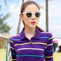2017 mujeres clásicas rayas camisa de polo de las camisas de polo de algodón de gran Tamaño caliente femenina ocio compasivo Polos