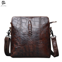 New Retro Crocodile Grain First Layer Genuine Leather Men Messenger Crossbody Shoulder Sling Bag Travel Hiking