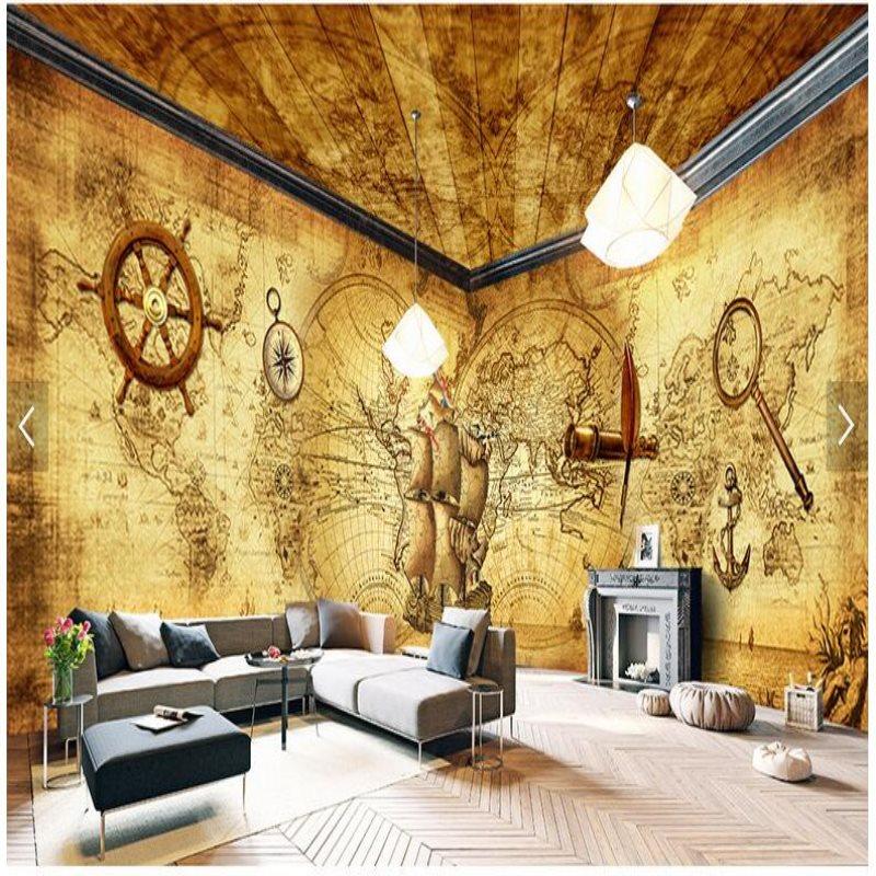 Large Custom mural Wallpapers Caribbean Pirates Retro Theme Space ...