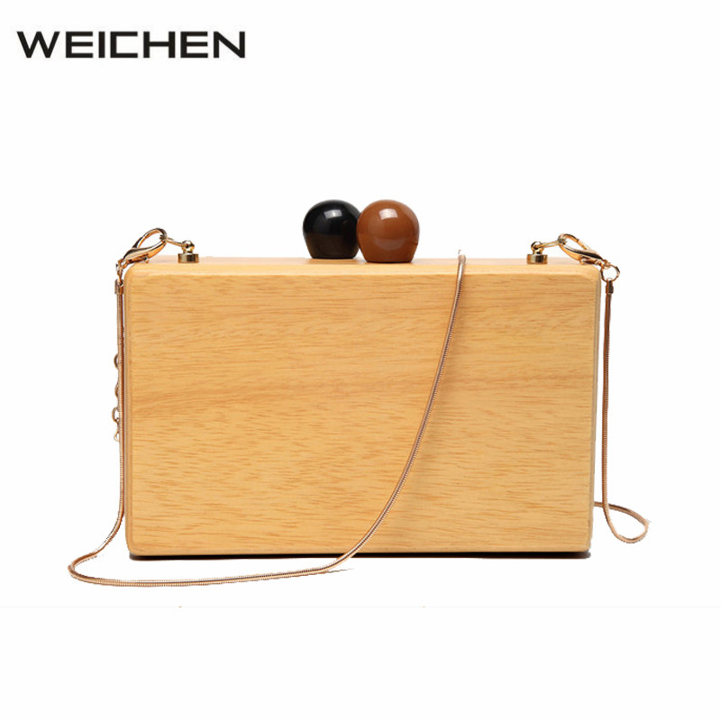 Women's Small Bag Wood Autumn Vintage Evening Clutch Bag Box Woody Messenger Bags for Women 2018 Small Autumn Winter Case Bags japanese pouch small hand carry green canvas heat preservation lunch box bag for men and women shopping mama bag