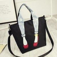 Shoes Print Women Denim Bag Solid Canvas Casual Tote Shoulder Bags Female Jean Bag Fabric Shopper