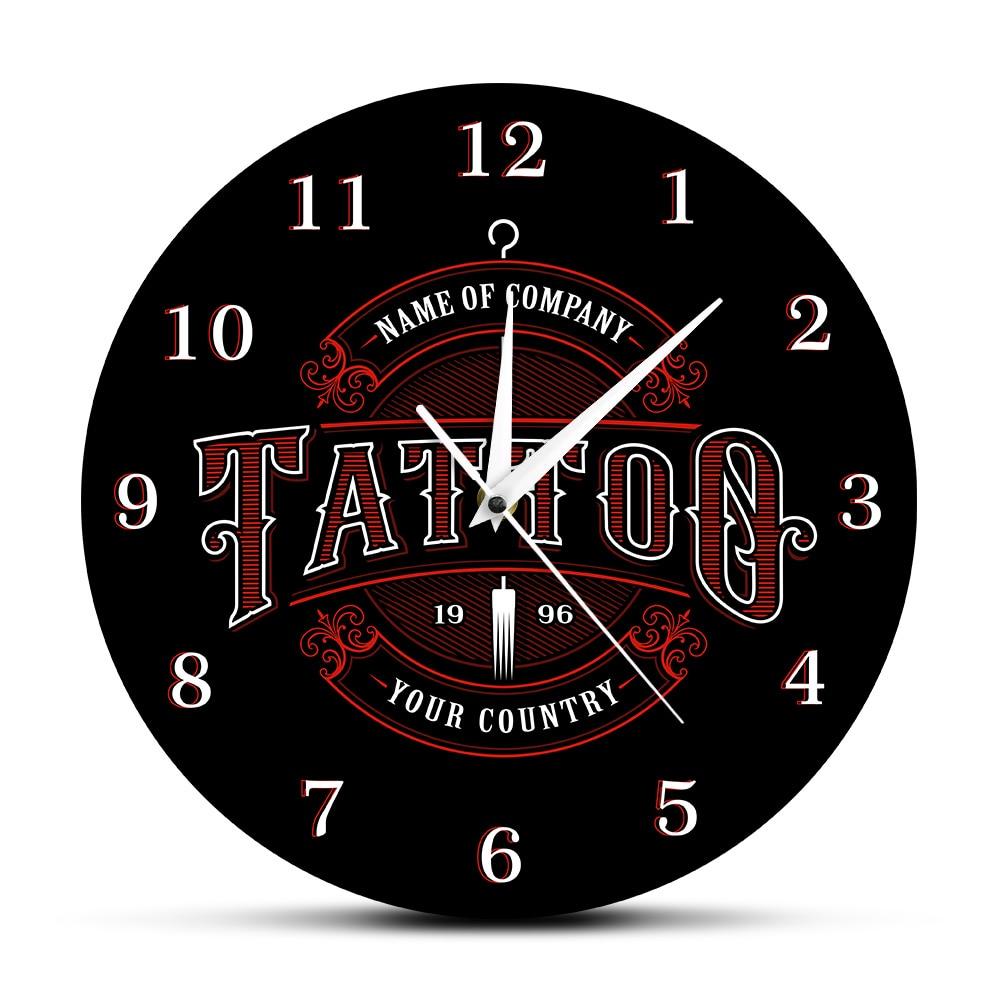 Tattoo Time Custom Wall Clock Ink Shop Tattoos Gun Artist Gift Body Art Shop Studio Tattoos Logo Company Name Modern Wall Clock