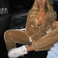 BKLD Velvet Jumpsuits 2019 Casual Women Long Sleeve Jumpsuits Front Button Open V neck Streetwear Long Pants Sexy Rompers